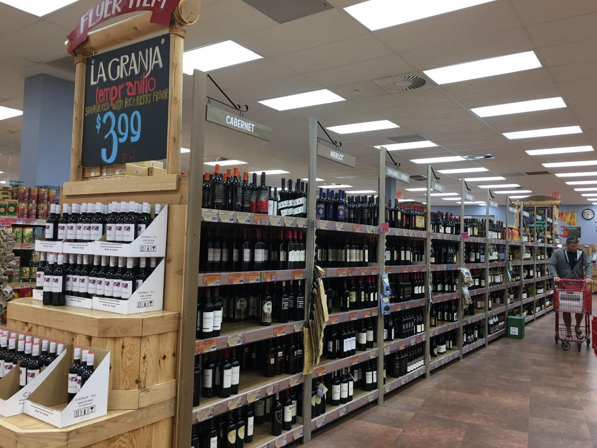 Supermarkets displaying private label wines